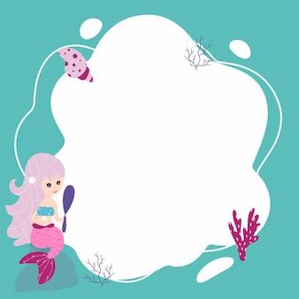 Petites sirènes. image vectorielle sous la forme d'une tache dans un style cartoon plat. modèle pour les photos d'enfants, cartes postales, invitations.