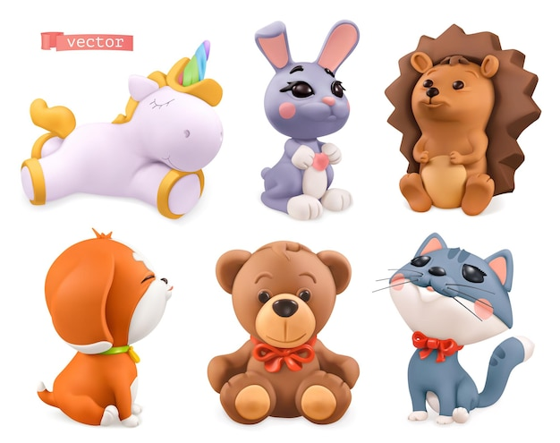 Petits animaux drôles. licorne, lapin, hérisson, chien, ours, chat. ensemble 3d