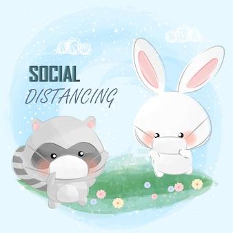 Les petits animaux mignons font la distance sociale