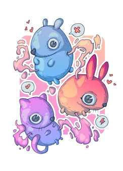 Petits animaux mignons. illustration de dessin animé créatif.