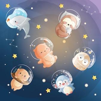 Petits animaux mignons portant un casque d'astronaute