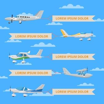 Petits avions à hélices avec des bannières dans le ciel