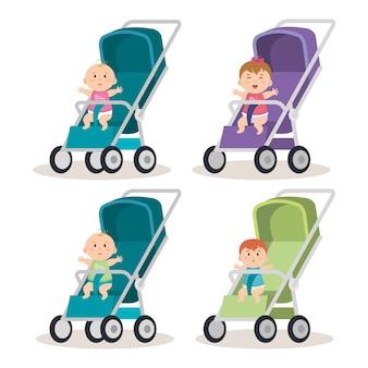 Petits bébés en charrettes caractères