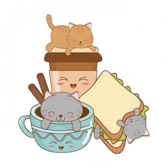 Petits chats mignons avec des caractères sandwich kawaii