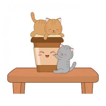 Petits chats mignons avec du café boivent des personnages kawaii