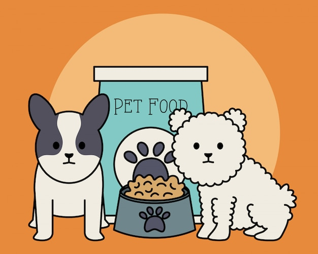 Petits chiens adorables avec sac de nourriture et plat