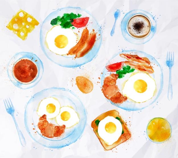 Petits déjeuners mis oeufs aquarelle