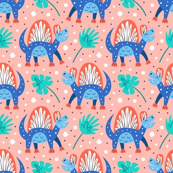 Petits dinosaures et palmiers bleus mignons. modèle sans couture dessiné main plat coloré dessin animé