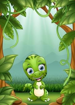 Les petits dinosaures sourient vivant dans la jungle