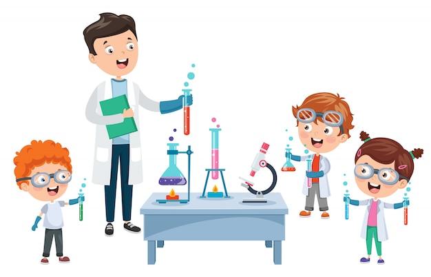 Petits élèves faisant une expérience chimique