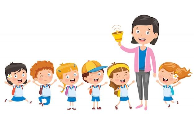 Petits élèves avec leur professeur