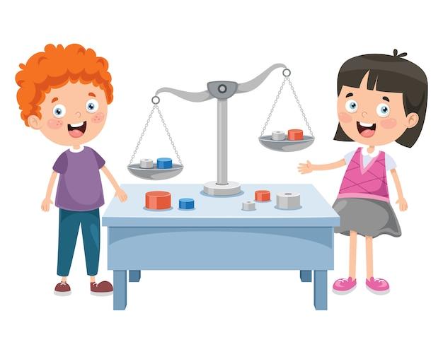 Petits élèves utilisant des balances de justice