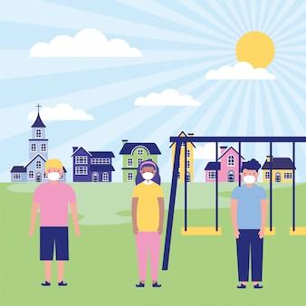 Petits enfants à l'aide de masques pour l'illustration du parc