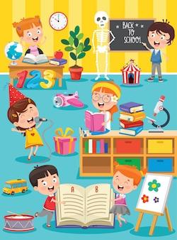 Petits enfants étudient et jouent à la classe préscolaire