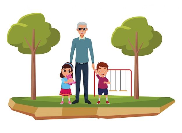 Petits-enfants et grand-père de la main