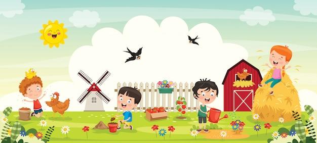 Petits enfants jardinage et plantation