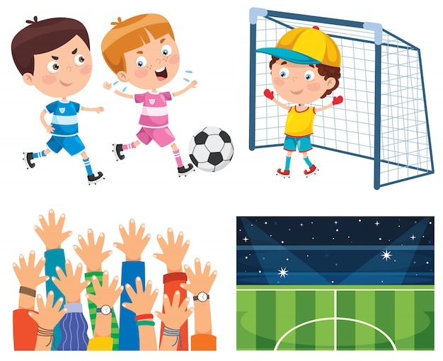 Petits enfants jouant au football en plein air