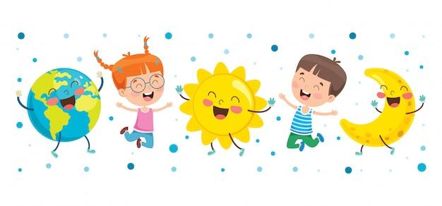 Petits enfants jouant avec un globe