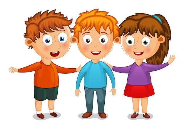 Petits enfants meilleurs amis câlin illustration