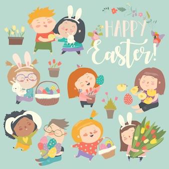 Petits enfants mignons avec thème de pâques