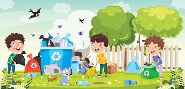 Petits enfants nettoyant et recyclant les ordures