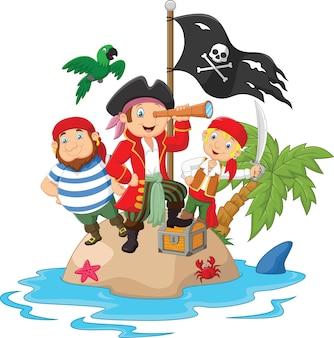 Petits enfants pris au piège dans des zones du trésor de l'île