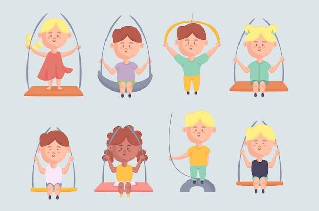 Petits enfants se balançant sur un ensemble d'illustration de corde