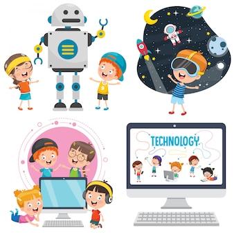 Petits enfants utilisant des appareils technologiques