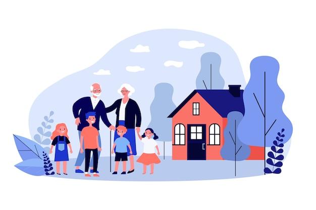 Petits-enfants visitant leurs grands-parents