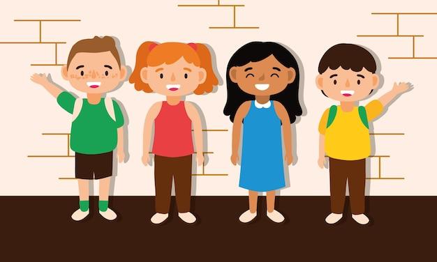 Petits étudiants enfants avatars caractères vector illustration design