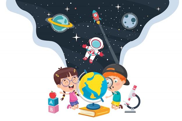 Petits étudiants étudient la géographie