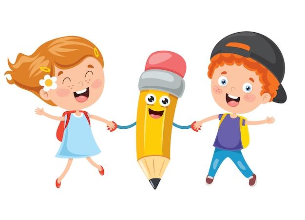 Petits étudiants jouant avec un crayon