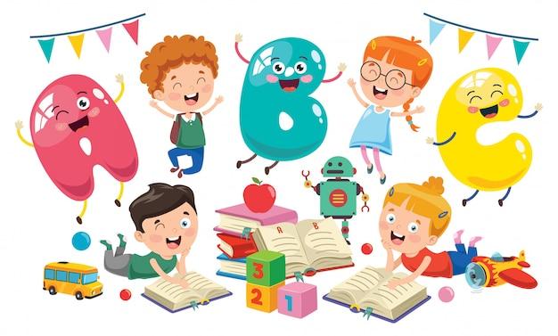 Petits étudiants qui étudient et lisent
