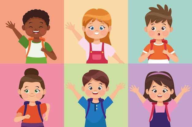 Petits étudiants six personnages