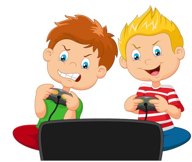 Petits garçons jouant au jeu vidéo