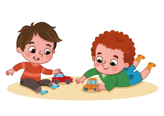 Petits garçons jouant avec des voitures jouets illustration vectorielle