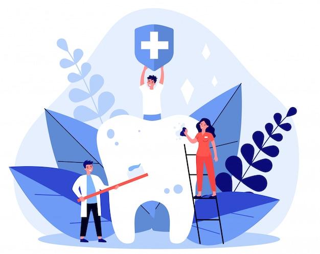 Petits gens, nettoyage, grosse dent, illustration