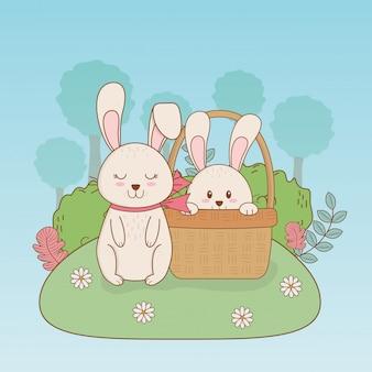 Petits lapins dans le camp de pâques