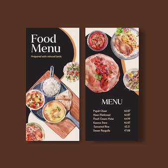 Petits modèles de menu avec de la nourriture indienne