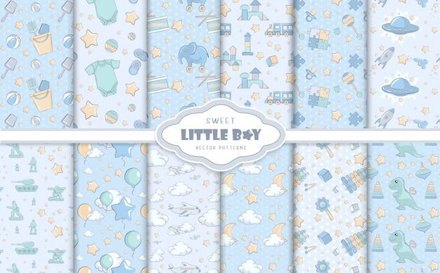 Petits motifs bébé garçon bleu