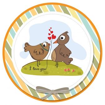 Petits oiseaux amoureux. carte de saint valentin