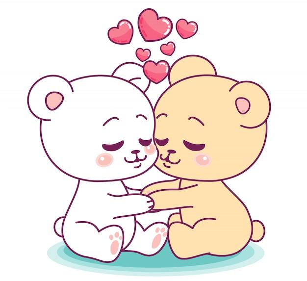Petits ours mignons embrassant tendrement
