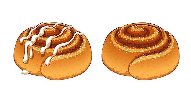 Petits pains à la cannelle mis en illustration de style dessin animé.