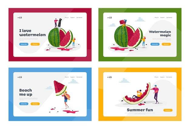 Petits personnages appréciant avec un énorme ensemble de modèles de page de destination de pastèque