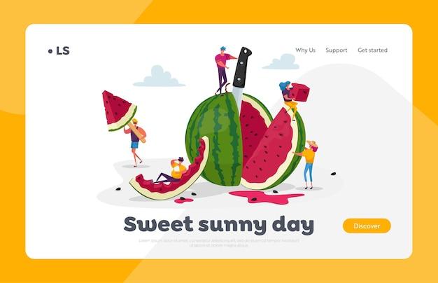 Petits personnages appréciant avec un énorme modèle de page de destination de pastèque mûre