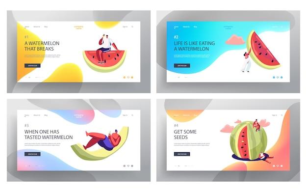 Petits personnages avec un énorme ensemble de pages de destination de site web de pastèque