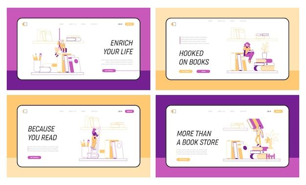 Petits personnages sur une étagère avec d'énormes livres ensemble de modèles de page de destination