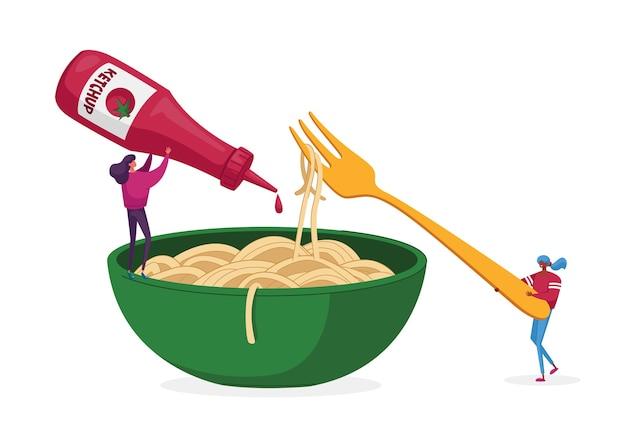 Petits personnages mangeant des pâtes spaghetti, verser la sauce ketchup