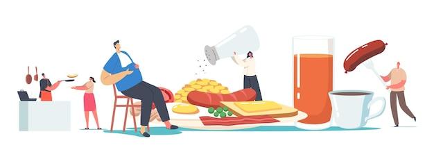 Petits personnages masculins et féminins à une assiette énorme ayant du bacon de petit-déjeuner anglais traditionnel complet, des saucisses avec des œufs au plat, des haricots et des toasts avec du thé ou du jus. illustration vectorielle de gens de dessin animé