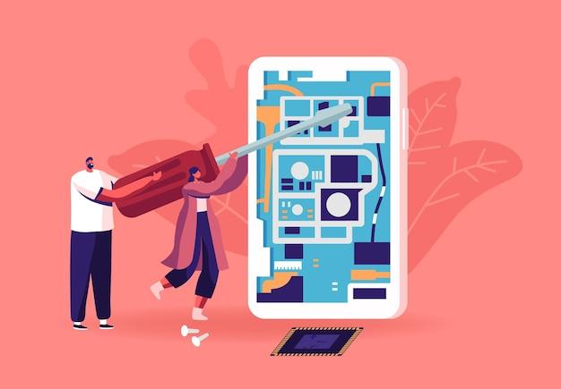 Petits personnages masculins et féminins avec un énorme tournevis fixant ou assemblant une illustration de smartphone. les gens réparent le téléphone portable géant